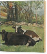 Cow Buddies Wood Print