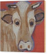 Cow Face Wood Print