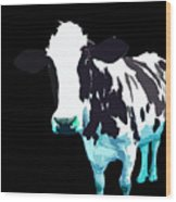 Cow In A Black World Wood Print