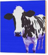 Cow In A Blue World Wood Print