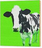 Cow In A Green World Wood Print