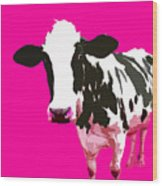 Cow In A Pink World Wood Print