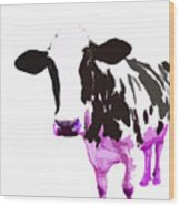Cow In A White World Wood Print