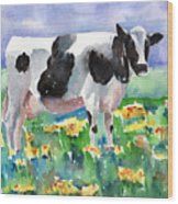 Cow In The Meadow Wood Print