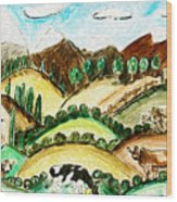 Cow Land Wood Print