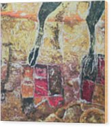 Cow Legs On Carpets Wood Print