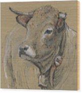Cow Portrait Painting Wood Print