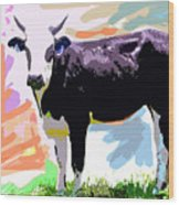 Cow Time Wood Print