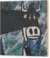 Cow With A Pearl Earring Wood Print