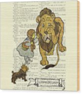Cowardly Lion, The Wizard Of Oz Scene Wood Print