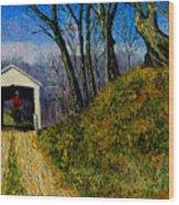 Cowboy And Covered Bridge Wood Print
