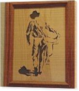 Cowboy And Saddle Wood Print