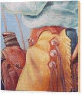 Cowboy Armor Western Cowboy Oil Painting Wood Print