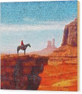 Cowboy At Monument Valley In Utah - Da Wood Print