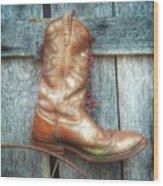 Cowboy Boot Rack Wood Print