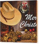 Cowboy Christmas Party - Merry Christmas Wood Print