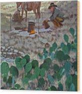 Cowboy Coffeebreak Wood Print