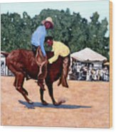 Cowboy Conundrum Wood Print by Tom Roderick