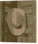 Cowboy Hangs It Up Square Format 1 Wood Print
