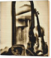 Cowboy Hat And Fiddle Wood Print