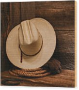 Cowboy Hat And Gear Wood Print