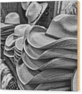 Cowboy Hats Black And White Wood Print