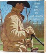 Cowboy In Pastel With Scripture Verse Wood Print