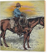 Cowboy N Sunset Wood Print
