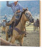 Cowboy Roping A Steer Wood Print