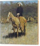 Cowboy Singing Wood Print