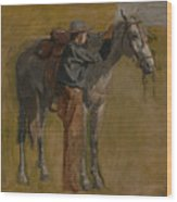 Cowboy - Study For Cowboys In The Badlands Wood Print
