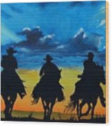 Cowboy  Sunset Wood Print