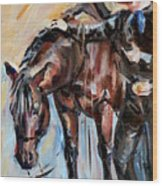 Cowboy With His Horse Wood Print