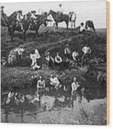 Cowboys Bathing Wood Print