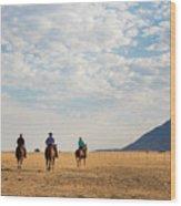 Cowboys On The Open Range Wood Print