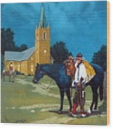 Cowboy's Prayer Wood Print