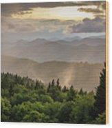 Cowee Mountains Sunset 2 Wood Print
