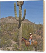 Cowgirl And The Crested Saguaro Wood Print