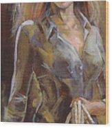 Cowgirl Wood Print by Nelya Shenklyarska