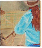 Cowgirl Roping Wood Print