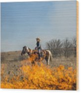Cowgirl Watching Over Burn Wood Print
