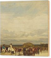 Cows Crossing A Ford 1836 Wood Print