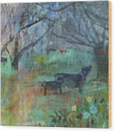 Cows In The Olive Grove Wood Print