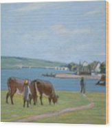 Cows On The Banks Of The Seine At Saint Mammes Wood Print