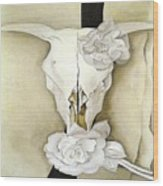Cow's Skull With Calico Roses By Georgia O'keeffe Wood Print