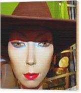 Coy Cowgirl Wood Print