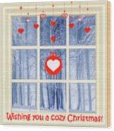 Cozy Christmas Card Wood Print