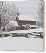 Cozy Snow Cabin Wood Print