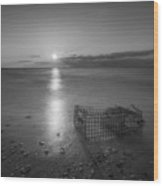Crab Trap Sunset Le Bw Wood Print