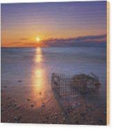 Crab Trap Sunset Le Wood Print
